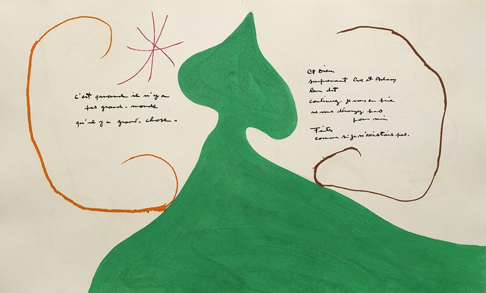 Jacques Prévert & Joan Miró Adonides [Adonis], 1975 Maeght Éditeur, Paris, 1975 One dry stamping on the cover and 42 etchings with aquatint, most with dry stamping Case: 43 x 35.50 x 5 cm Book (closed): 40.50 x 33.80 x 4 cm Joan Miró Foundation, Barcelona (FJM 10785) FotoGasull © Miró Estate 2021
