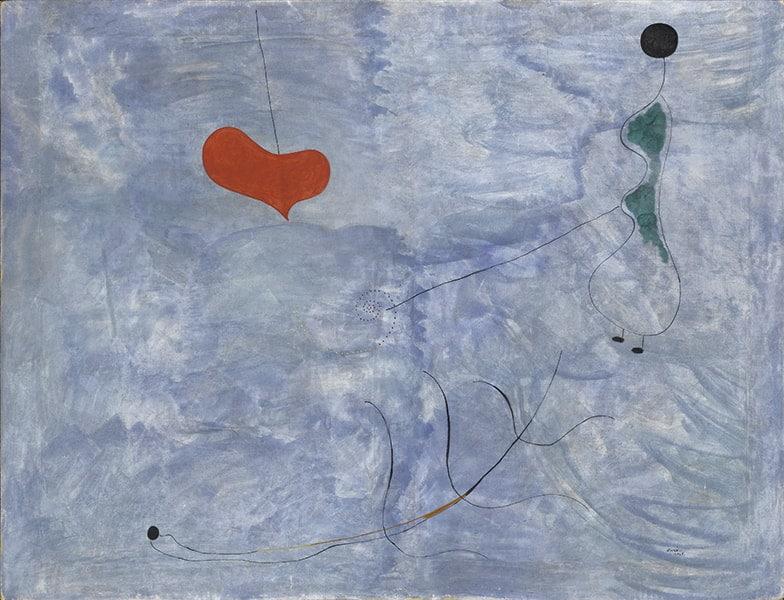 Joan Miró Peinture (Femme, tige, coeur) [Pintura (Mujer, tallo, corazón)], 1925 Óleo sobre lienzo 89 x 116 cm Colección particular © Joan-Ramon Bonet/David Bonet © Successió Miró 2021