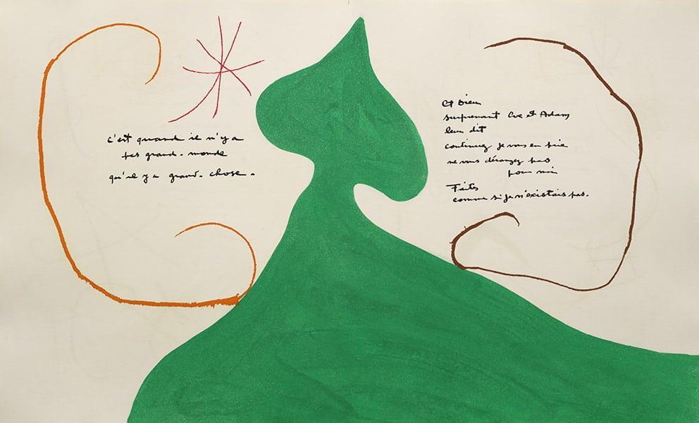 Jacques Prévert y Joan Miró Adonides [Flores de adonis], 1975 Maeght Éditeur, París, 1975 1 estampación en seco en la cubierta y 42 aguafuertes con aguatinta, la mayoría con estampación en seco Estuche: 43 x 35,50 x 5 cm Libro (cerrado): 40,50 x 33,80 x 4 cm Fundació Joan Miró, Barcelona (FJM 10785) FotoGasull © Successió Miró 2021
